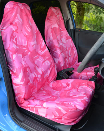 Pink Camouflage Front Seat Covers