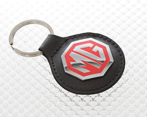 MG Keyring with Black Leather Fob and Enamel Badge