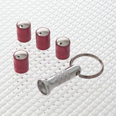 Tyre Valve Locking Dust Caps in Red