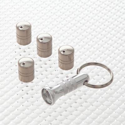 Locking Tyre Valve Dust Caps in Titanium