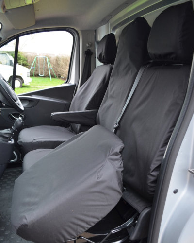 Dual Passenger Seat Covers for Renault Trafic Van in Black