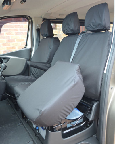Front Black Seat Covers for Renault Trafic Van