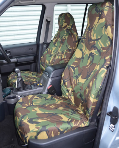 Discovery 3 Green Camo Front Seat Covers without Armrests