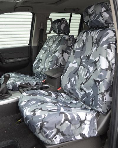 Navara D40 Front Seat Covers - Grey Camo