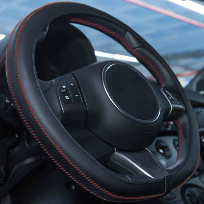 Black Steering Wheel Cover - Red Stitching