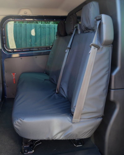 Ford Transit Custom Double Cab Triple Rear Seat Cover in Black