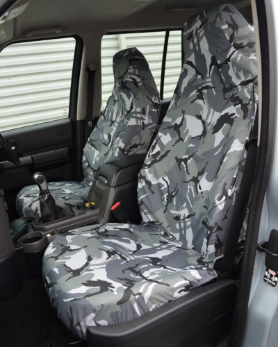 Discovery 4 Grey Camo Covers for Front Seats without Armrests